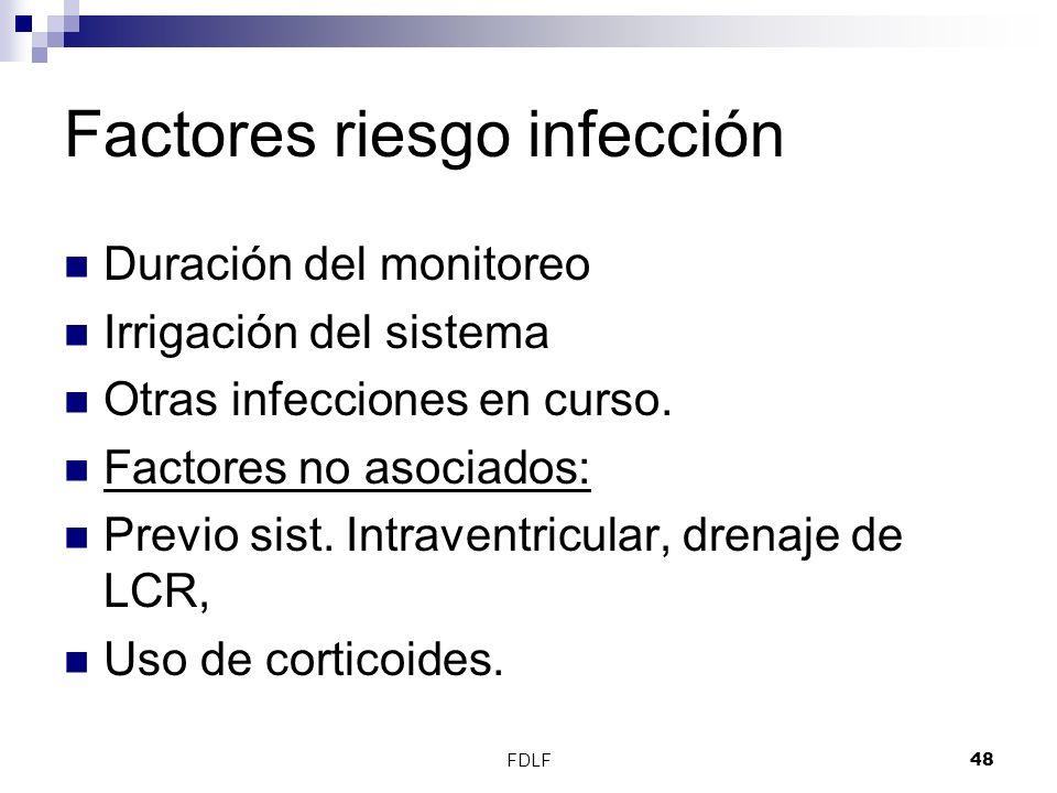 FDLF48 Factores riesgo infección Duración del monitoreo Irrigación del sistema Otras infecciones en curso. Factores no asociados: Previo sist. Intrave