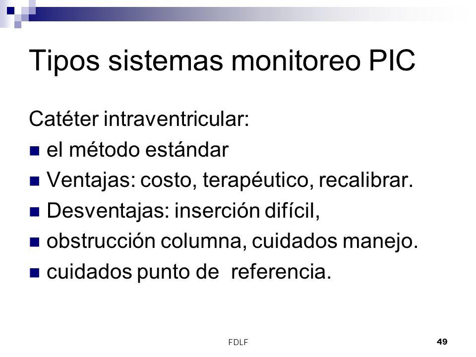 FDLF49 Tipos sistemas monitoreo PIC Catéter intraventricular: el método estándar Ventajas: costo, terapéutico, recalibrar. Desventajas: inserción difí