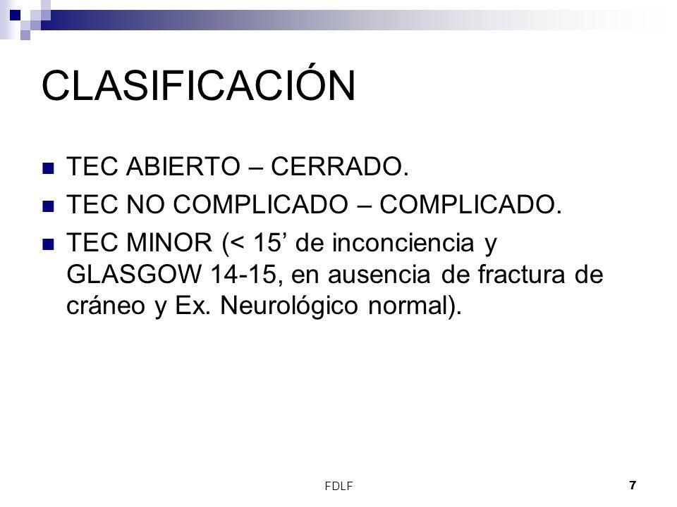 FDLF38 TEC Pacientes con TAC normal mas 2 factores de riesgo tienen un 60 % de riesgo de tener elevación de la PIC.