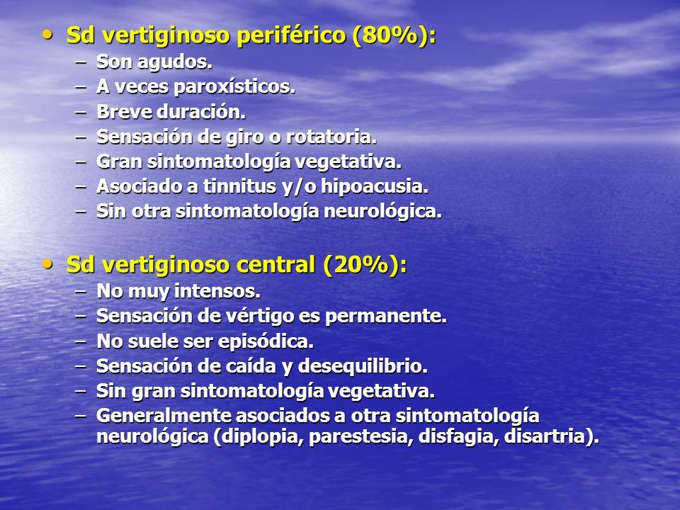Sd vertiginoso periférico (80%): Sd vertiginoso periférico (80%): –Son agudos. –A veces paroxísticos. –Breve duración. –Sensación de giro o rotatoria.