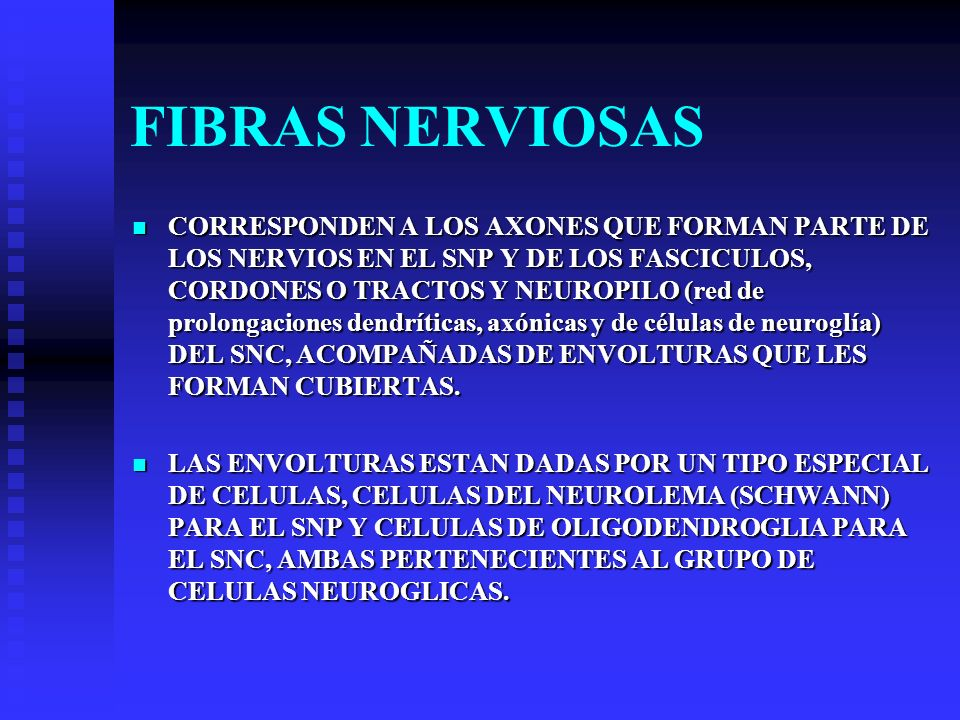 FIBRAS NERVIOSAS CORRESPONDEN A LOS AXONES QUE FORMAN PARTE DE LOS NERVIOS EN EL SNP Y DE LOS FASCICULOS, CORDONES O TRACTOS Y NEUROPILO (red de prolo