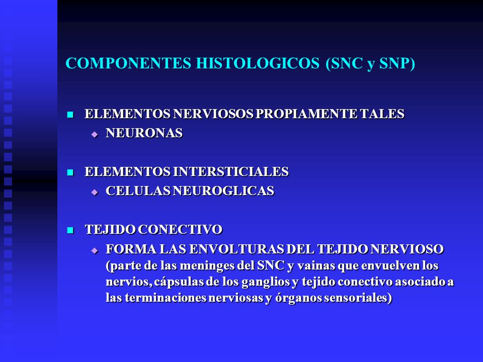 COMPONENTES HISTOLOGICOS (SNC y SNP) ELEMENTOS NERVIOSOS PROPIAMENTE TALES ELEMENTOS NERVIOSOS PROPIAMENTE TALES NEURONAS NEURONAS ELEMENTOS INTERSTIC