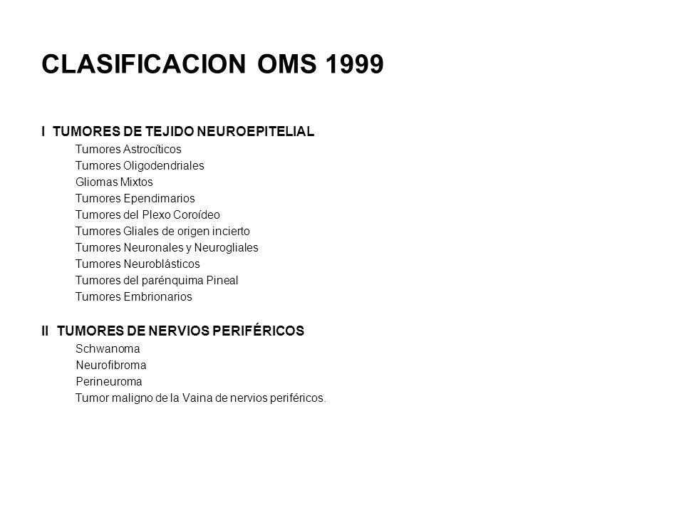 CLASIFICACION OMS 1999 I TUMORES DE TEJIDO NEUROEPITELIAL Tumores Astrocíticos Tumores Oligodendriales Gliomas Mixtos Tumores Ependimarios Tumores del