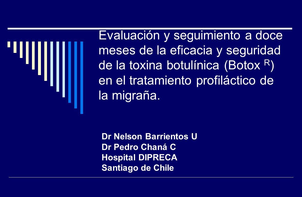 Evaluación y seguimiento a doce meses de la eficacia y seguridad de la toxina botulínica (Botox R ) en el tratamiento profiláctico de la migraña. Dr N