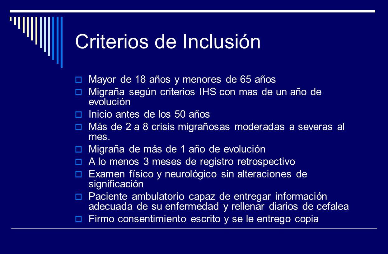 Criterios de Inclusión Mayor de 18 años y menores de 65 años Migraña según criterios IHS con mas de un año de evolución Inicio antes de los 50 años Má