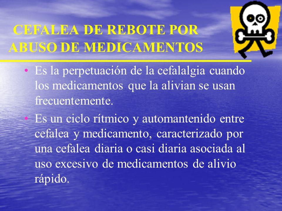 CEFALEA DE REBOTE POR ABUSO DE MEDICAMENTOS CEFALEA DE REBOTE ANALGESICO CEFALEA DE REBOTE POR ERGOTAMINICOS CEFALEA INDUCIDA POR DROGAS