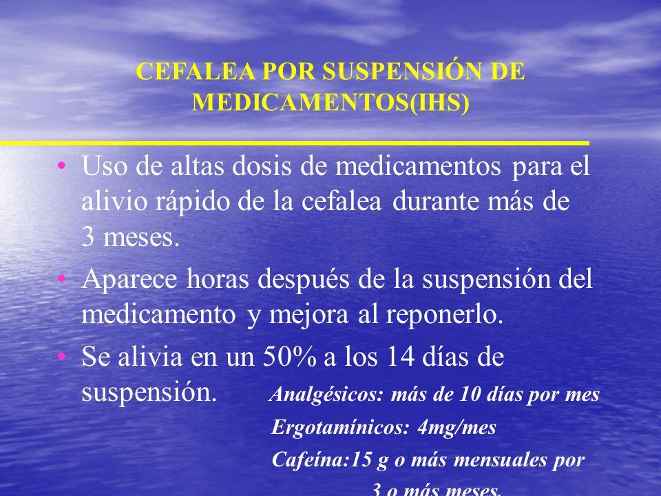 DEFINICION OPERACIONAL PARA LA CEFALEA DE REBOTE ANALGESICO(IHS) Se presenta después de usar altas dosis de analgésicos por más de 3 meses. Es una cef