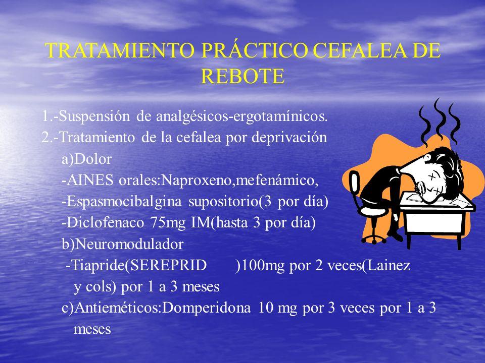 Tratamiento de la cefalea de rebote Educar y motivar al paciente Suspender analgésicos y ergotamínicos Explicar que al discontinuar el medicamento se