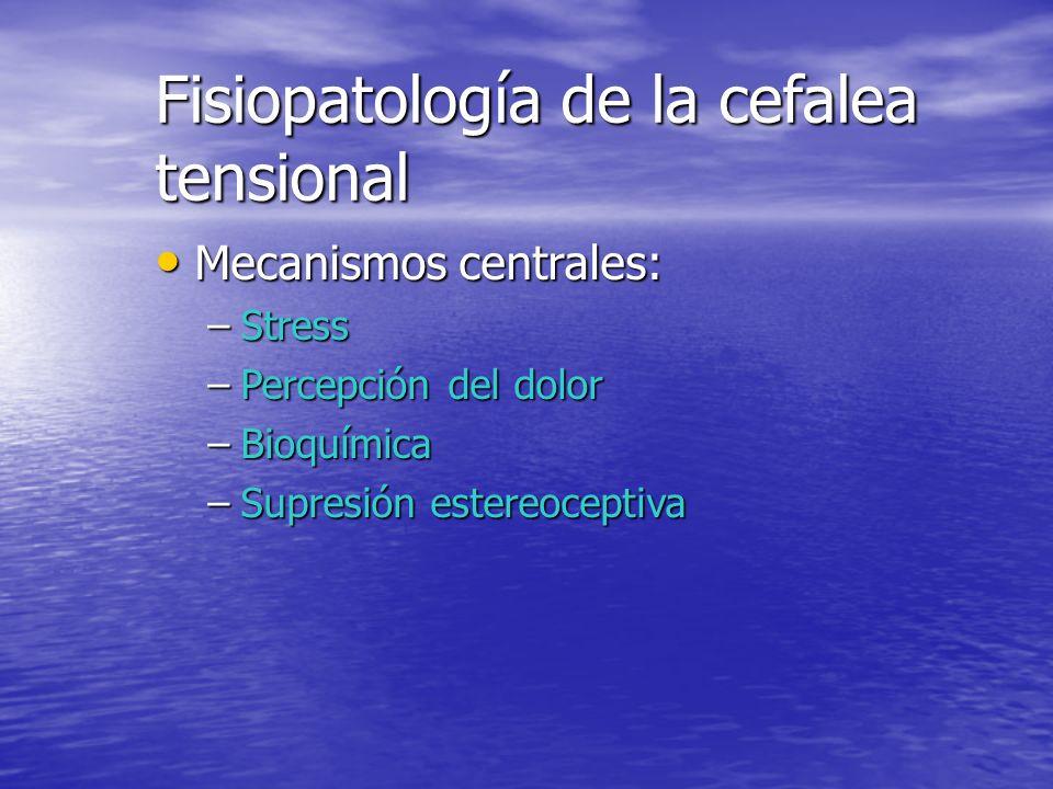Fisiopatología de la cefalea tensional Mecanismos periféricos: Mecanismos periféricos: –Factores musculares: La EMG de superficie no demostró contracc
