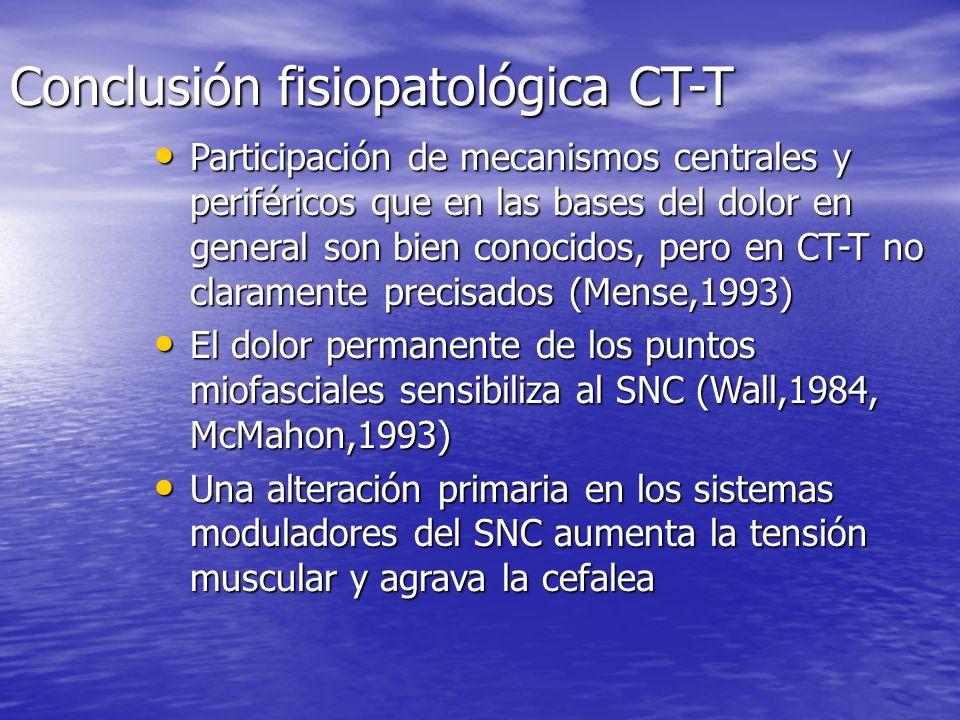 Fisiopatología de la cefalea tensional Mecanismos centrales: Mecanismos centrales: –Stress –Percepción del dolor –Bioquímica –Supresión estereoceptiva