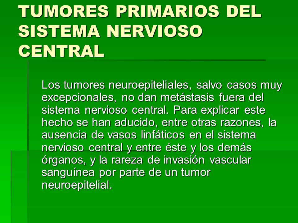 TUMORES PRIMARIOS DEL SISTEMA NERVIOSO CENTRAL Ciertos tumores neuroepiteliales pueden dar metástasis intraorgánicas a través del líquido cefalo-rraquídeo.