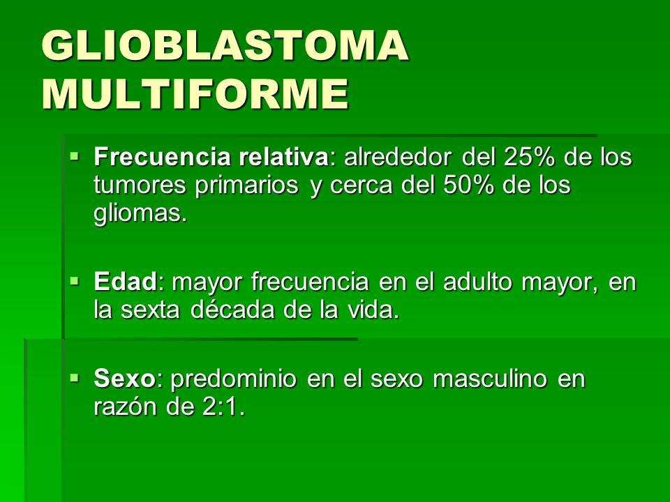 GLIOBLASTOMA MULTIFORME Frecuencia relativa: alrededor del 25% de los tumores primarios y cerca del 50% de los gliomas. Frecuencia relativa: alrededor