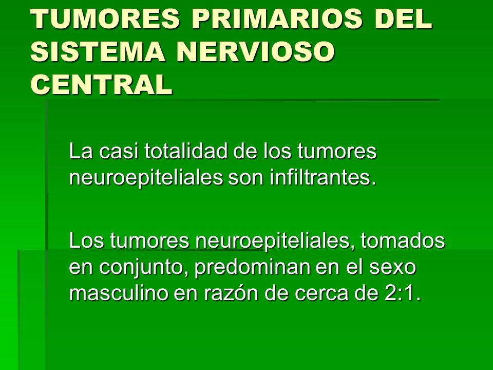 TUMORES PRIMARIOS DEL SISTEMA NERVIOSO CENTRAL En general, el grado de malignidad histológica de los tumores neuroepiteliales se estima en función de cinco variables: heterotipía celular, mitosis, celularidad, necrosis y proliferación vascular.