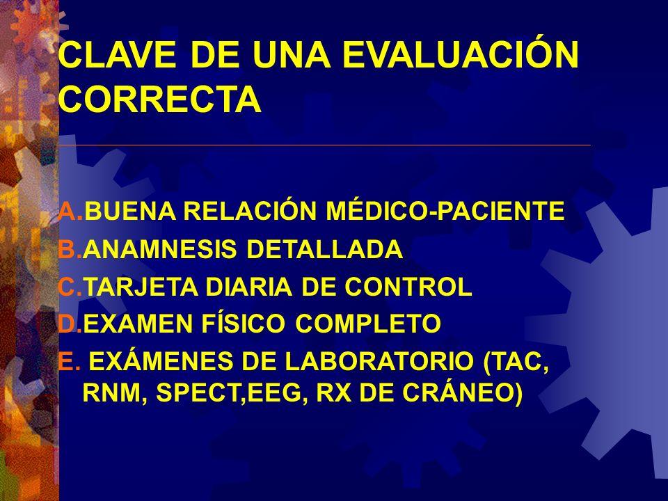 CLAVE DE UNA EVALUACIÓN CORRECTA A. BUENA RELACIÓN MÉDICO-PACIENTE B.ANAMNESIS DETALLADA C.TARJETA DIARIA DE CONTROL D.EXAMEN FÍSICO COMPLETO E. EXÁME
