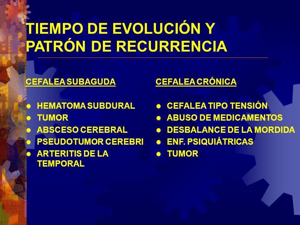 TIEMPO DE EVOLUCIÓN Y PATRÓN DE RECURRENCIA CEFALEA SUBAGUDA HEMATOMA SUBDURAL TUMOR ABSCESO CEREBRAL PSEUDOTUMOR CEREBRI ARTERITIS DE LA TEMPORAL CEF