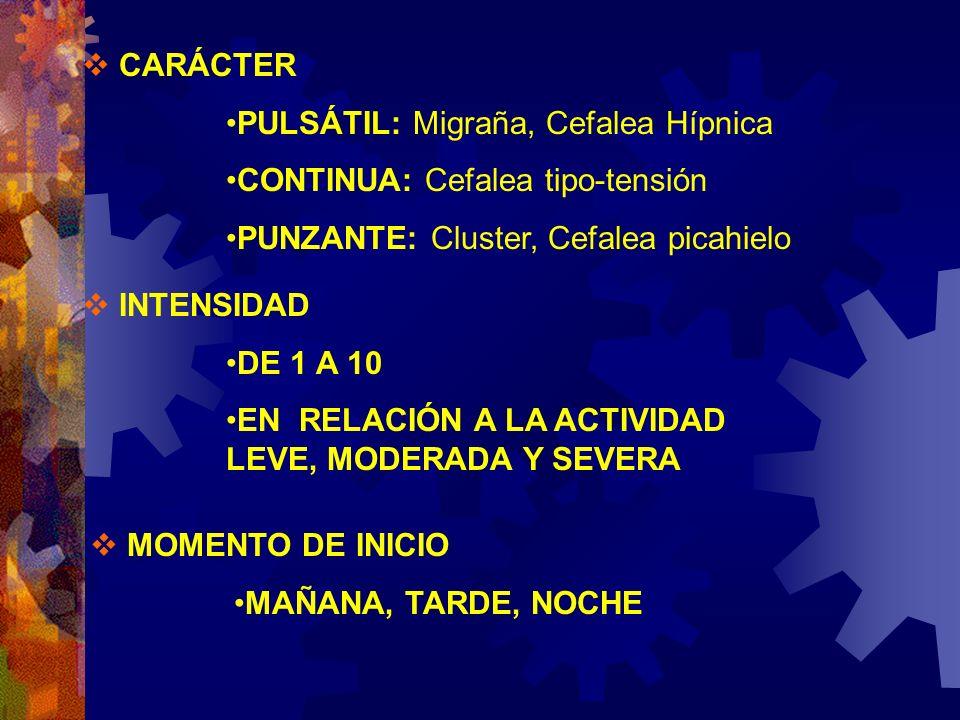 CARÁCTER PULSÁTIL: Migraña, Cefalea Hípnica CONTINUA: Cefalea tipo-tensión PUNZANTE: Cluster, Cefalea picahielo INTENSIDAD DE 1 A 10 EN RELACIÓN A LA