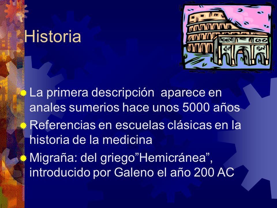 Prevalencia de los tipos de cefalea (1992) Primarias: % Migraña sin aura9 Migraña con aura6 Cefalea de tipo tensión episódica 63 Cefalea de tipo tensión crónica3 Cefalea en picahielo 2 Cefalea por compresión externa4 Cefalea por frío 15 Cefalea benigna de la tos1 Cefalea por ejercicio físico 1 Cefalea coital 1 Rasmussen y Olesen 1992