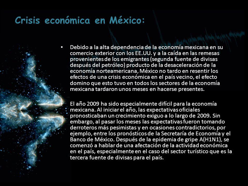 Crisis económica en México: Debido a la alta dependencia de la economía mexicana en su comercio exterior con los EE.UU. y a la caída en las remesas pr