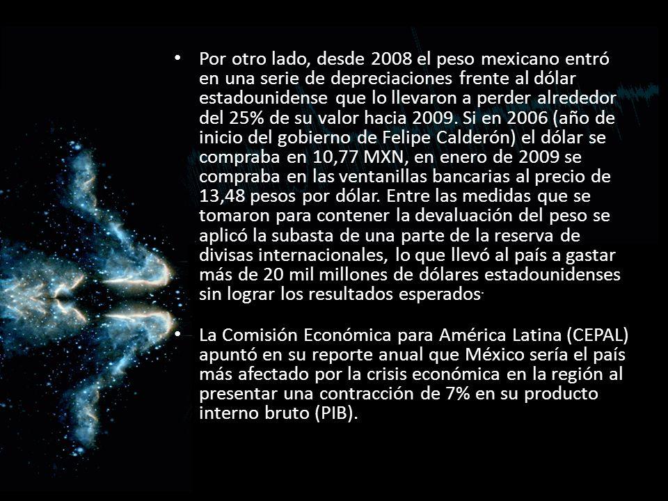 Por otro lado, desde 2008 el peso mexicano entró en una serie de depreciaciones frente al dólar estadounidense que lo llevaron a perder alrededor del