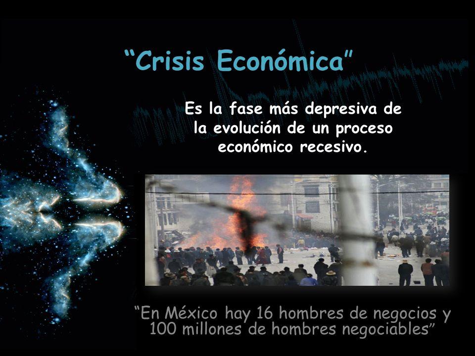 Crisis Económica En México hay 16 hombres de negocios y 100 millones de hombres negociables Es la fase más depresiva de la evolución de un proceso eco
