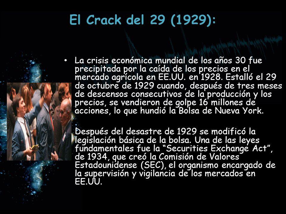 El Crack del 29 (1929): La crisis económica mundial de los años 30 fue precipitada por la caída de los precios en el mercado agrícola en EE.UU. en 192