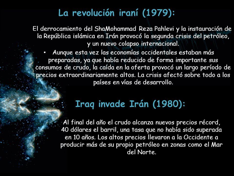 La revolución iraní (1979): El derrocamiento del ShaMohammad Reza Pahlevi y la instauración de la República islámica en Irán provocó la segunda crisis