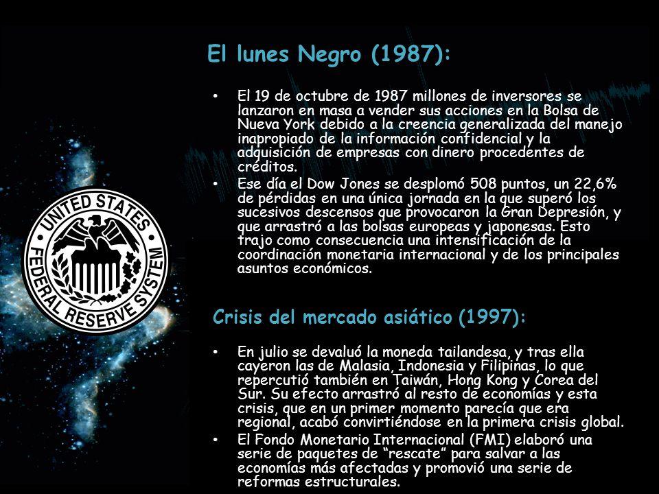 El lunes Negro (1987): El 19 de octubre de 1987 millones de inversores se lanzaron en masa a vender sus acciones en la Bolsa de Nueva York debido a la