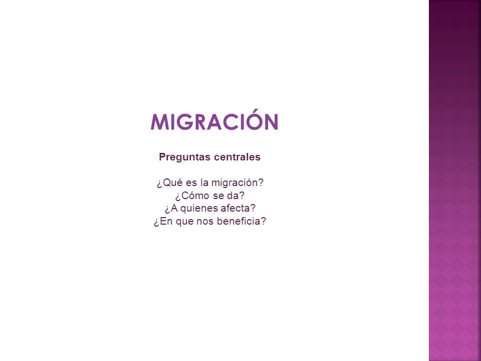 MIGRACIÓN Preguntas centrales ¿Qué es la migración? ¿Cómo se da? ¿A quienes afecta? ¿En que nos beneficia?