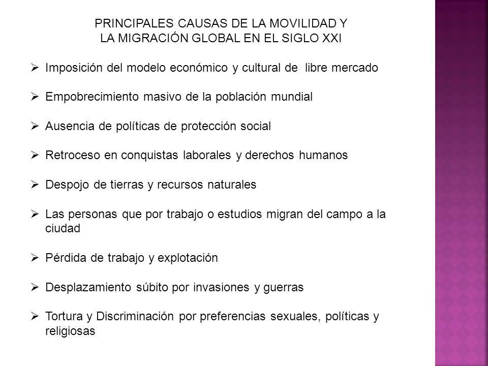 PRINCIPALES CAUSAS DE LA MOVILIDAD Y LA MIGRACIÓN GLOBAL EN EL SIGLO XXI Imposición del modelo económico y cultural de libre mercado Empobrecimiento m