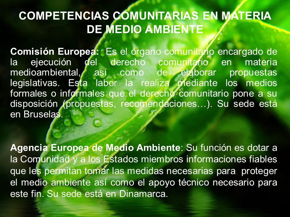 Comisión Europea: Es el órgano comunitario encargado de la ejecución del derecho comunitario en materia medioambiental, así como de elaborar propuesta