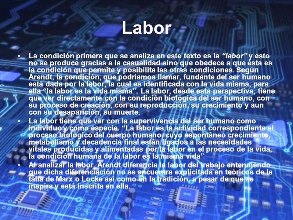 Labor La condición primera que se analiza en este texto es la labor y esto no se produce gracias a la casualidad sino que obedece a que ésta es la con
