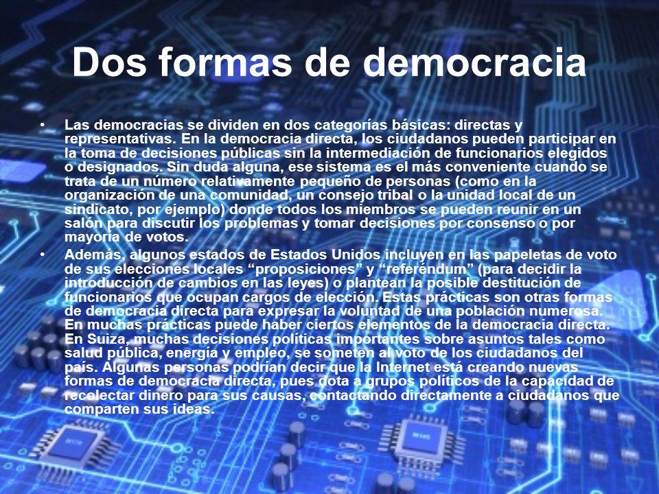 Dos formas de democracia Las democracias se dividen en dos categorías básicas: directas y representativas. En la democracia directa, los ciudadanos pu