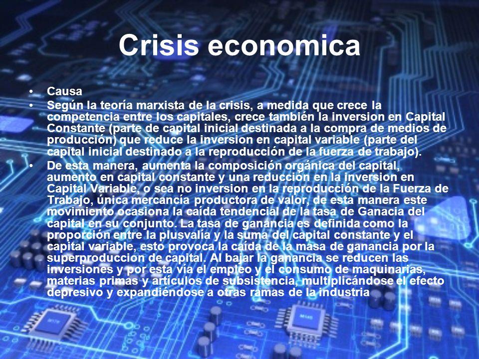 Crisis economica Causa Según la teoría marxista de la crisis, a medida que crece la competencia entre los capitales, crece también la inversion en Cap