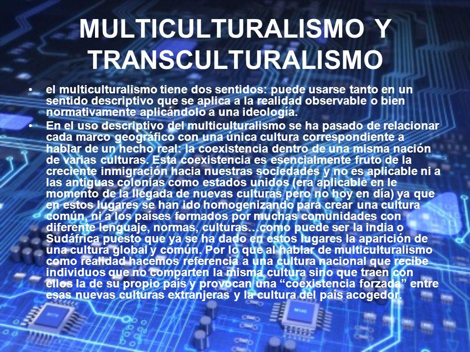 MULTICULTURALISMO Y TRANSCULTURALISMO el multiculturalismo tiene dos sentidos: puede usarse tanto en un sentido descriptivo que se aplica a la realida