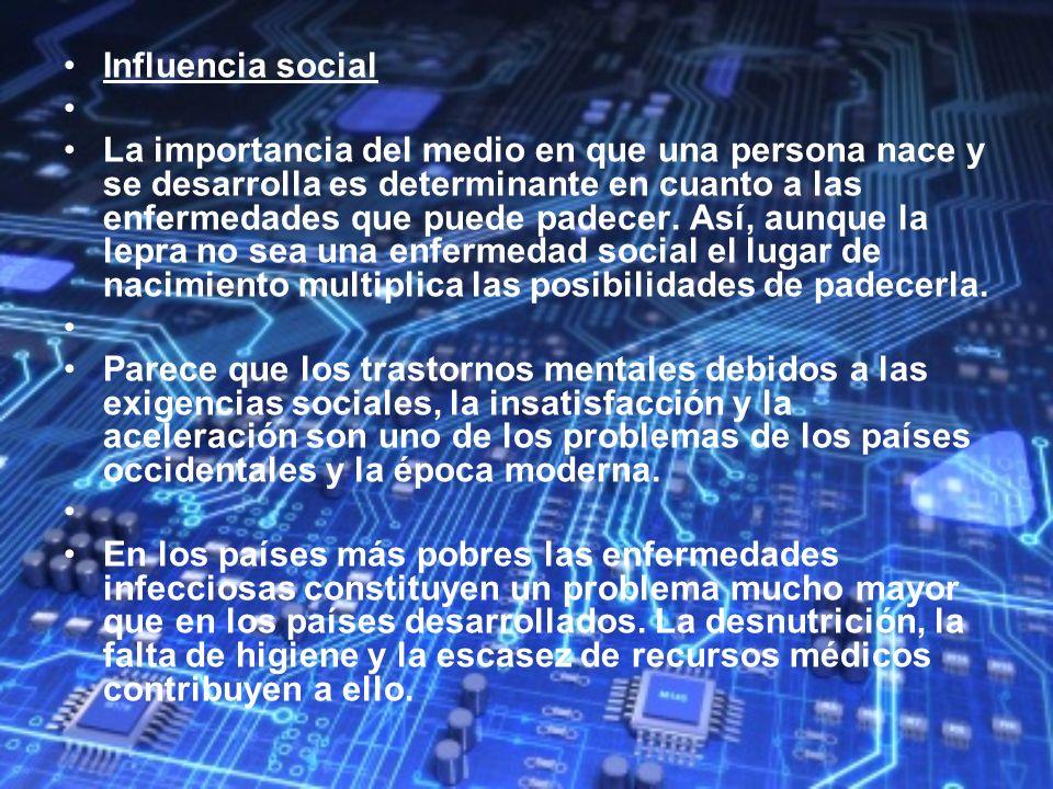 Influencia social La importancia del medio en que una persona nace y se desarrolla es determinante en cuanto a las enfermedades que puede padecer. Así