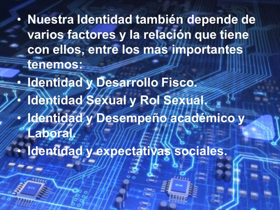 Nuestra Identidad también depende de varios factores y la relación que tiene con ellos, entre los mas importantes tenemos: Identidad y Desarrollo Fisc