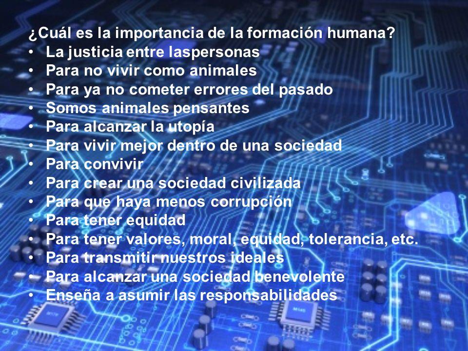 ¿Cuál es la importancia de la formación humana? La justicia entre laspersonas Para no vivir como animales Para ya no cometer errores del pasado Somos