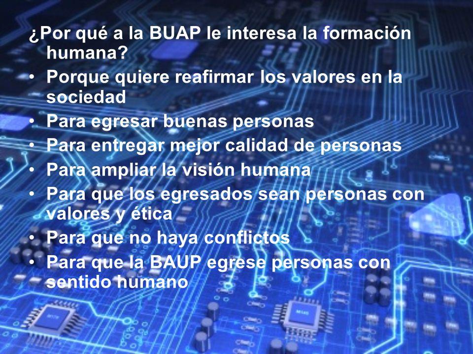 ¿Por qué a la BUAP le interesa la formación humana? Porque quiere reafirmar los valores en la sociedad Para egresar buenas personas Para entregar mejo