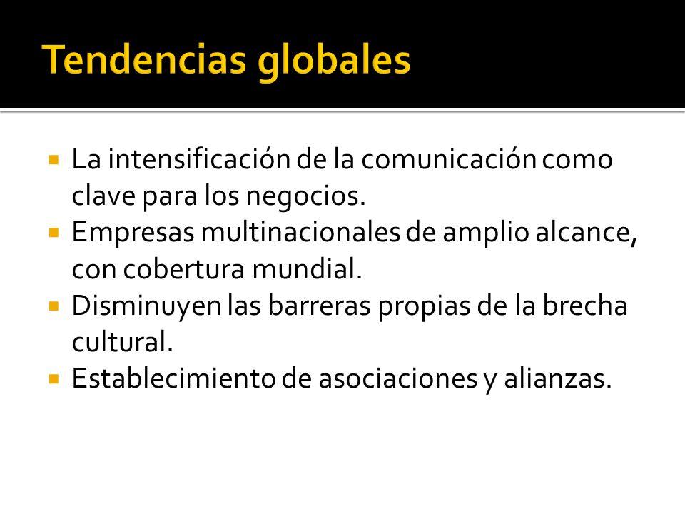 La intensificación de la comunicación como clave para los negocios. Empresas multinacionales de amplio alcance, con cobertura mundial. Disminuyen las