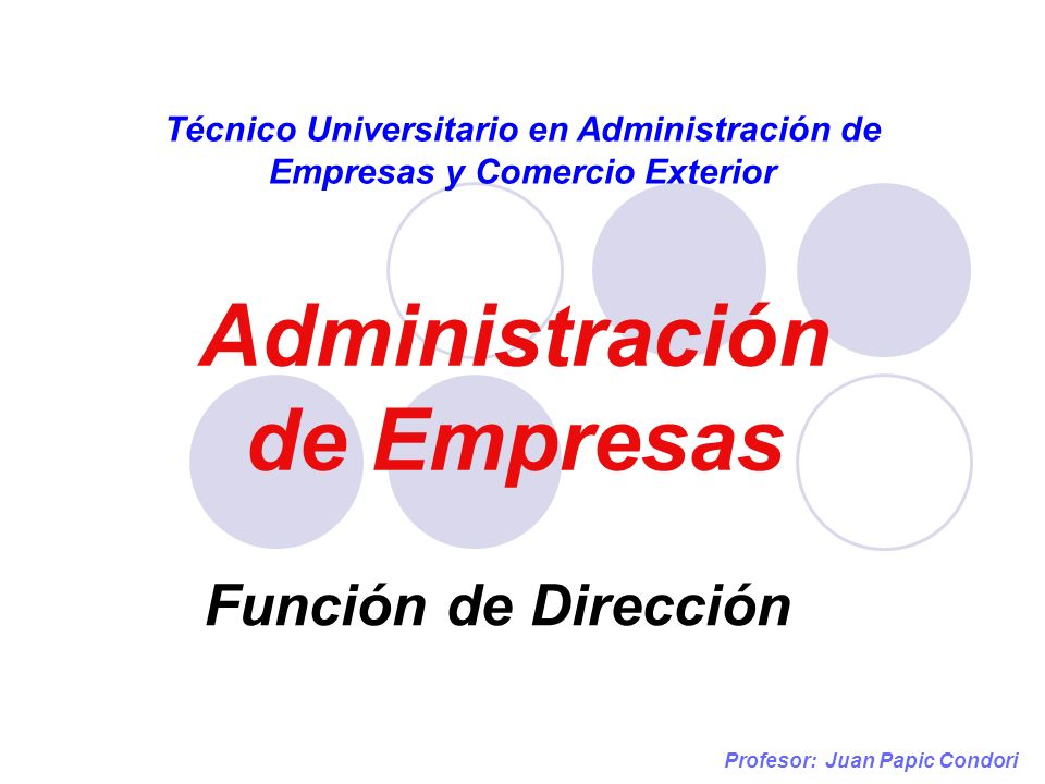 Dirección Profesor: Juan Papic Condori La Dirección es la función que se encarga de influir sobre las personas para que éstas realicen actividades que contribuyan al logro de las metas grupales.