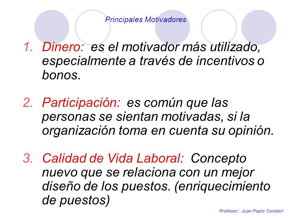 Profesor: Juan Papic Condori 1.Dinero: es el motivador más utilizado, especialmente a través de incentivos o bonos. 2.Participación: es común que las