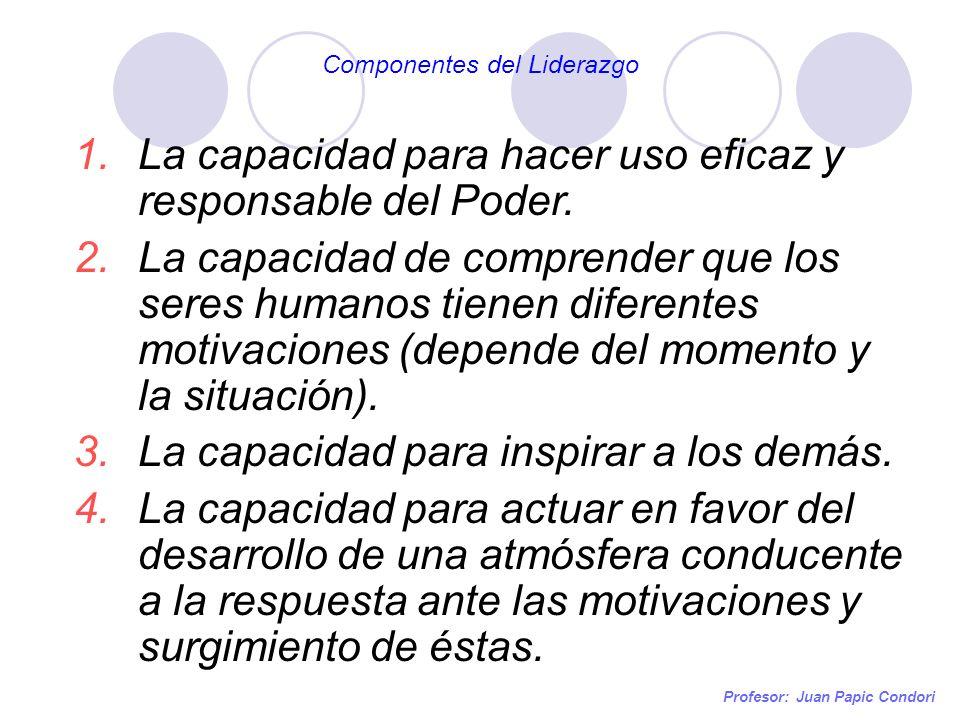 Profesor: Juan Papic Condori 1.La capacidad para hacer uso eficaz y responsable del Poder. 2.La capacidad de comprender que los seres humanos tienen d