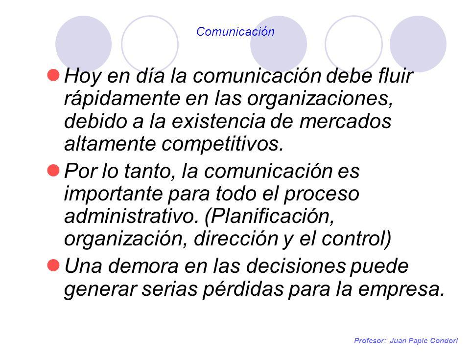 Profesor: Juan Papic Condori Hoy en día la comunicación debe fluir rápidamente en las organizaciones, debido a la existencia de mercados altamente com