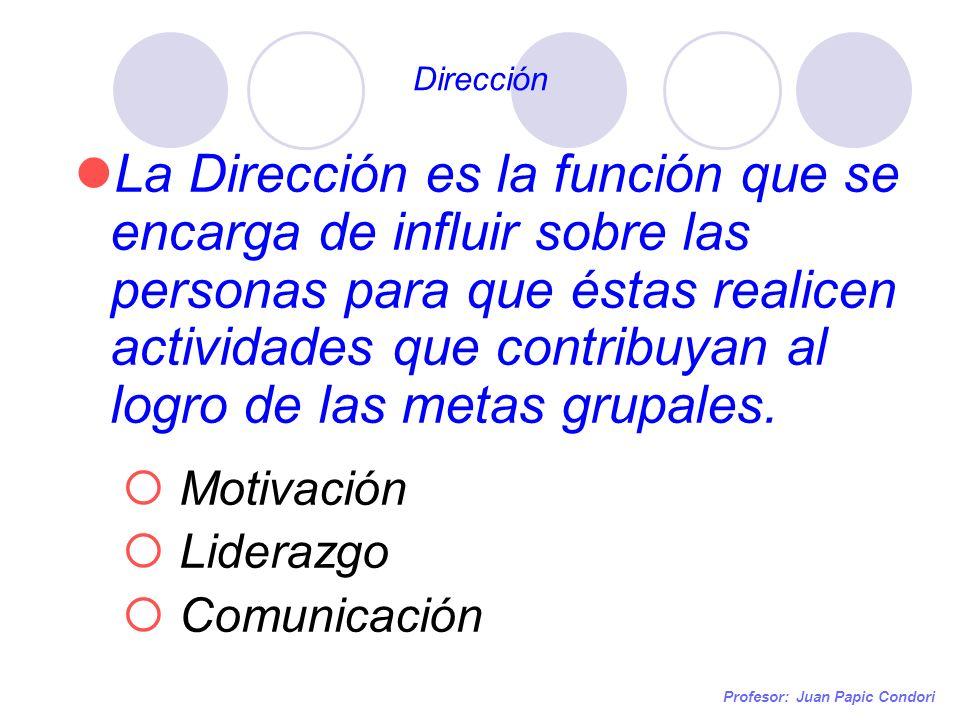 Dirección Profesor: Juan Papic Condori La Dirección es la función que se encarga de influir sobre las personas para que éstas realicen actividades que