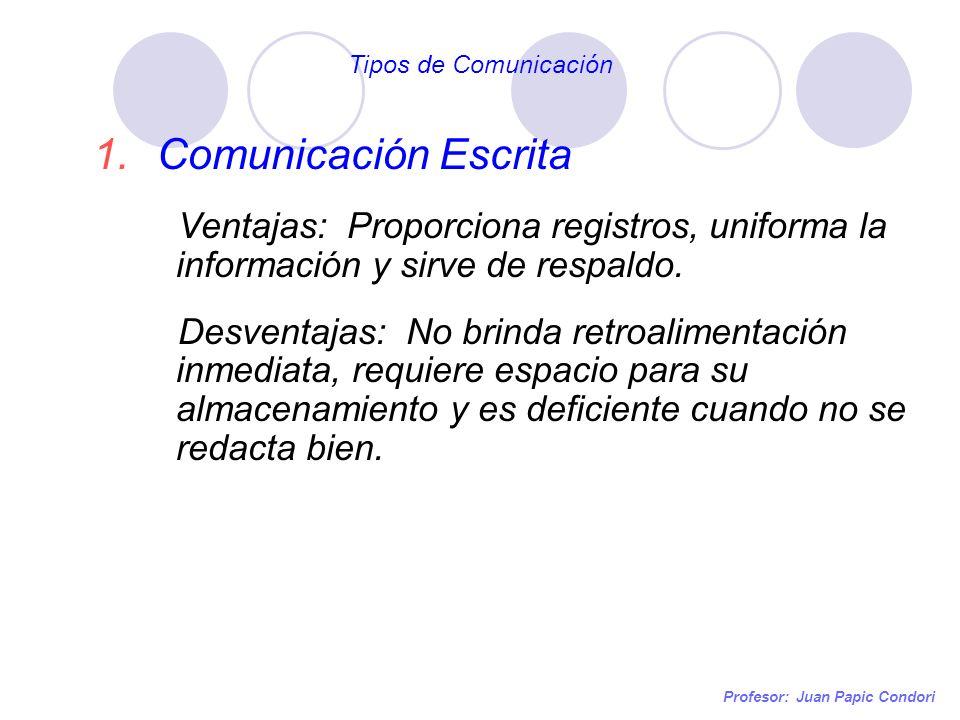 Profesor: Juan Papic Condori 1.Comunicación Escrita Ventajas: Proporciona registros, uniforma la información y sirve de respaldo. Desventajas: No brin