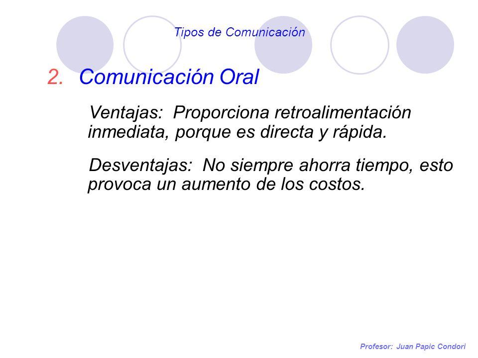 Profesor: Juan Papic Condori 2.Comunicación Oral Ventajas: Proporciona retroalimentación inmediata, porque es directa y rápida. Desventajas: No siempr