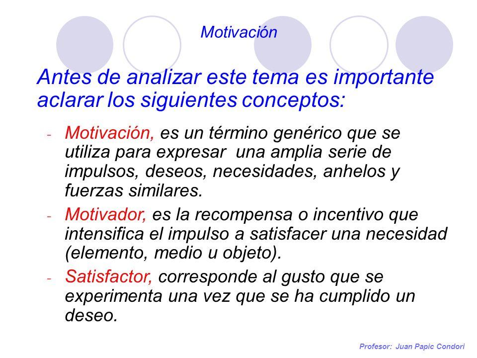 Motivación Profesor: Juan Papic Condori Antes de analizar este tema es importante aclarar los siguientes conceptos: - Motivación, es un término genéri