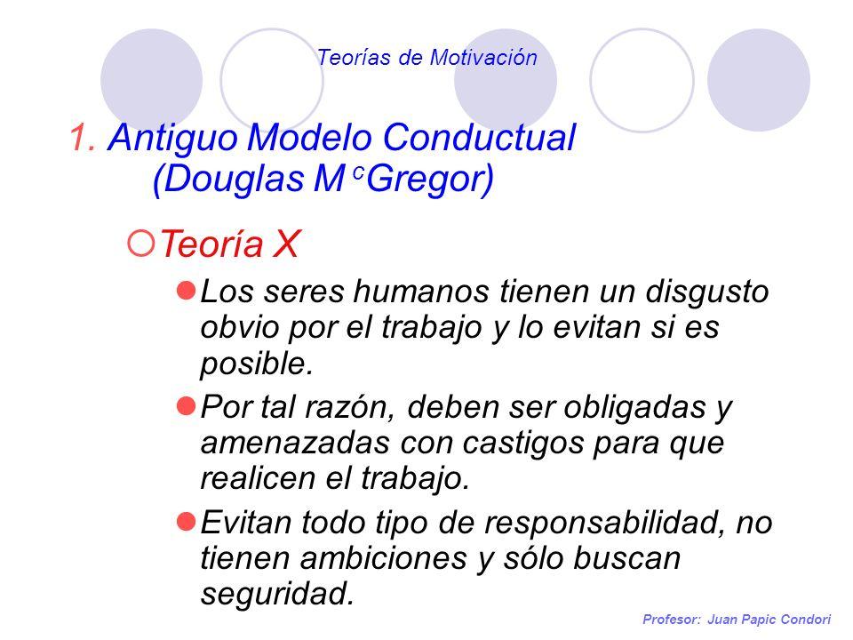 Profesor: Juan Papic Condori 1.Antiguo Modelo Conductual (Douglas M c Gregor) Teoría X Los seres humanos tienen un disgusto obvio por el trabajo y lo