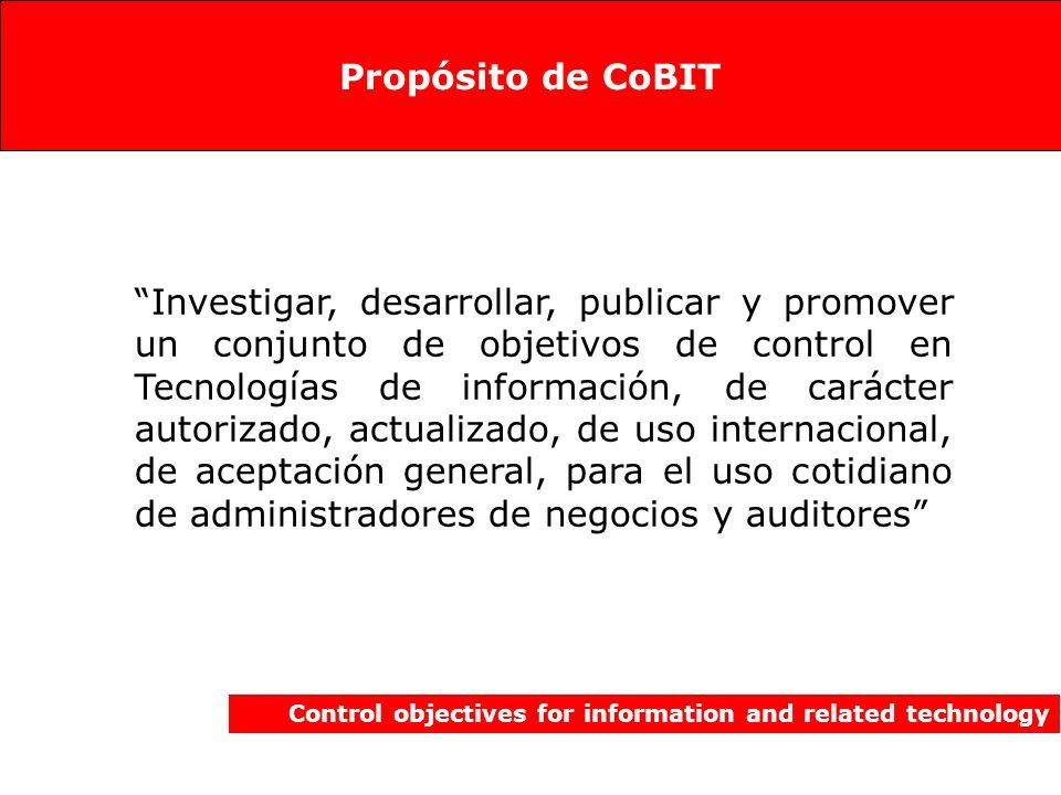 Los componentes de CoBIT 3 th Edición Control objectives for information and related technology Guías para la Administración -- Alta administración (CEO, CIO) (Gratis en Internet, solo en inglés) Resumen Ejecutivo -- Alta administración (CEO, CIO) (Gratis en Internet, en español) Marco de referencia -- Jefes de Unidad (Directores del Departamento de Sistemas y/o Control) (Gratis en Internet, en español) Objetivos de Control -- Jefaturas intermedias (Administración intermedia y auditores de sistemas) (Gratis en Internet, en español) Guías de Auditoría -- Supervisores y encargados de control (Administrador de operaciones o aplicaciones y auditores) (solo para miembros de ISACA es gratis) Software para implementar CoBiT (producto comercial)