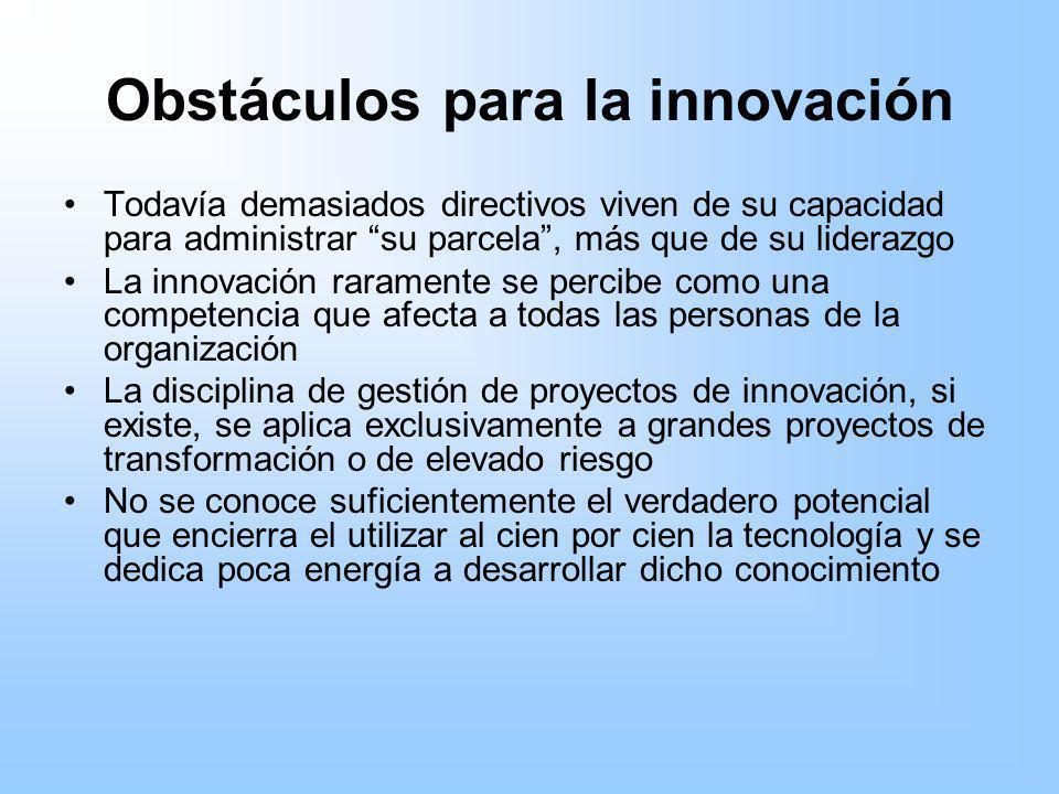 Obstáculos para la innovación Todavía demasiados directivos viven de su capacidad para administrar su parcela, más que de su liderazgo La innovación r